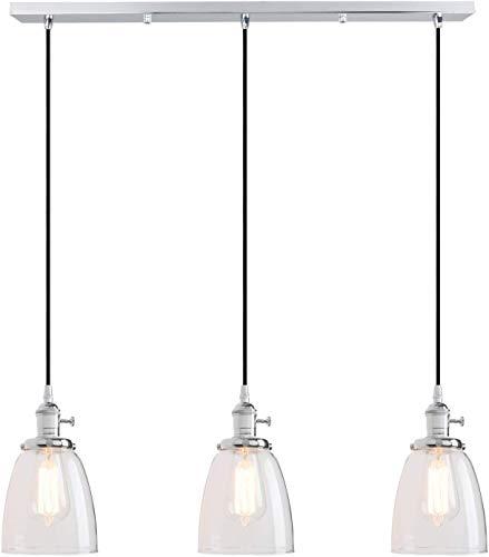 Lámpara Colgante Lluminación Colgantes Techo Industrial Modern Vintage Loft Bar Cocina LB luces pendientes guarniciones Cluster Araña pantalla de cristal colgante de 3 luces Fixture de la isla Sala Co