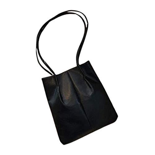 CVBN Bolsos Tipo Cubo de Cuero de PU Bolso de Hombro para Mujer Bolsos Cruzados Simples Dama, Negro