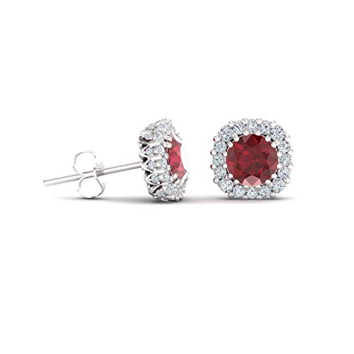 Diamondere Natural and Certified Ruby and Diamond Halo Stud Earrings in 14K White Gold | 1.34 Carat Earrings for Women