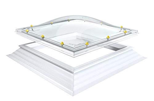 Lichtkoepel te openen dakopening 70x70cm acryl, opaal ruit, 1-sjaal, met handspindel
