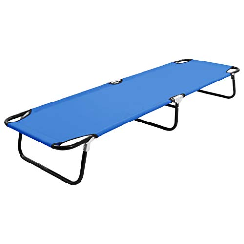 vidaXL Catre Camilla Plegable de Camping Tumbona al Aire Libre Campaña Utensilio Exterior Patio Cama Exterior Terraza Playa Acero Azul