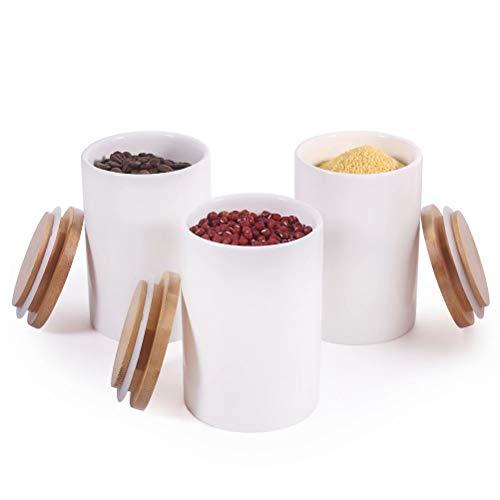 77L Vaso per Alimenti, (Set di 3) Contenitore per Alimenti in Ceramica con Coperchio Ermetico in Bambù, 430 ML (14.52 FL OZ) Barattoli da Cucina Contenitori per Servire Tè, Caffè, Zucchero e Altro