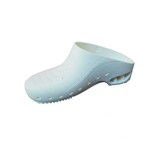 Zuecos Sanitarios de Trabajo Top Klog • Zuecos Mujer y Hombre con Suela de Goma Antideslizante • Zapatos para Enfermería Y Hostelería • Talla 41 • Color Blanco