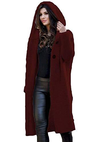 XLBHSH dames casual lang vest met knoop warme trui capuchon kabel gebreide trui jas