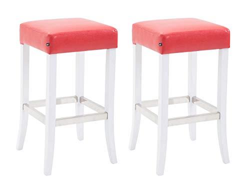 CLP Set 2X Taburete Venta en Cuero Sintético I 2X Taburete con Base de Madera I 2X Taburetes de Cocina I Color: Rojo, Blanco