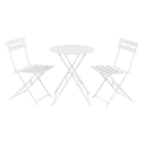 [en.casa] Set Bistro 71 x 60 cm Set de Muebles de jardín 3-Piezas Conjunto de Muebles de Exterior Mesa Redonda con 2 Sillas Plegables Mesa de Centro Acero Blanco