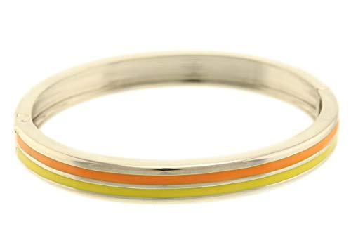 behave® Damen Elegantes buntes Armreif aus Metall - Orange - 20cm Größe