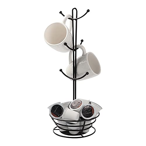 Coffee Pod Holder with Mug Rack, Black Metal K-cups Pods Storage Organizer for Coffee Capsule with Mugs Tree for 6 Cups