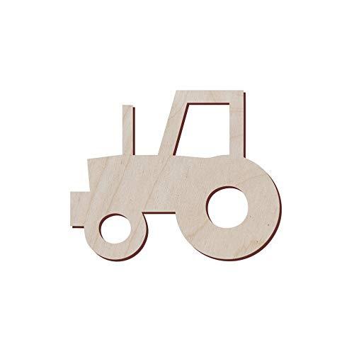 Juego de 10 tractores de madera con forma de tractor para manualidades y decoración, corte láser, cumpleaños de tractor, fiesta de tractor, silueta de tractor John Deere Tractor, 12.7x10.4 cm