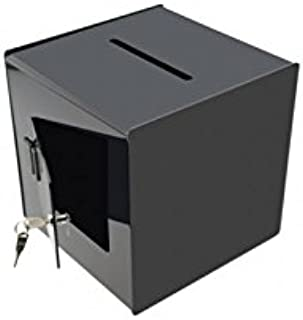 "Marketing Holders 12"" W Ballot Box Staff Suggestion Comments Black Locking Back Fundraising Donation Schools Clubs Churche..."