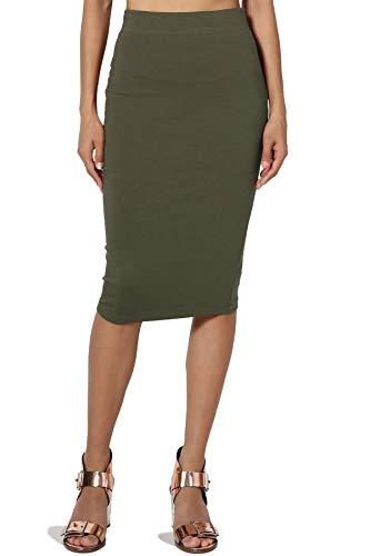 TheMogan Junior's Stretch Cotton Elastic High Waist Pencil Midi Skirt Olive M