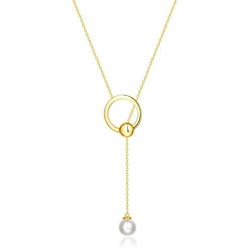 KnSam - Cadena para mujer chapada en oro de 9 quilates, oro amarillo redondo con perla de agua dulce