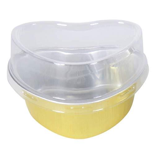RETYLY Einweg Aluminium Folie Back Form Herz F?Rmige Kuchen Formen/Dessert Pfannen mit Deckel Packung mit 100 (Gold)