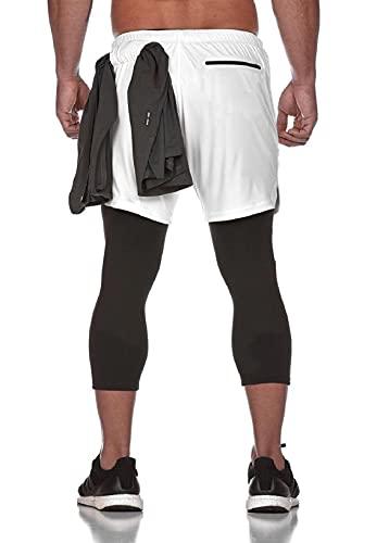 Yuson Girl 2 in 1 Pantaloncini Sportivi da Uomo, Estate Shorts Pantaloni con Tasche in Vita Elasticizzata, Sport e Allenamento Fitness Shorts Jogging, Pantaloncini Asciugatura Veloce