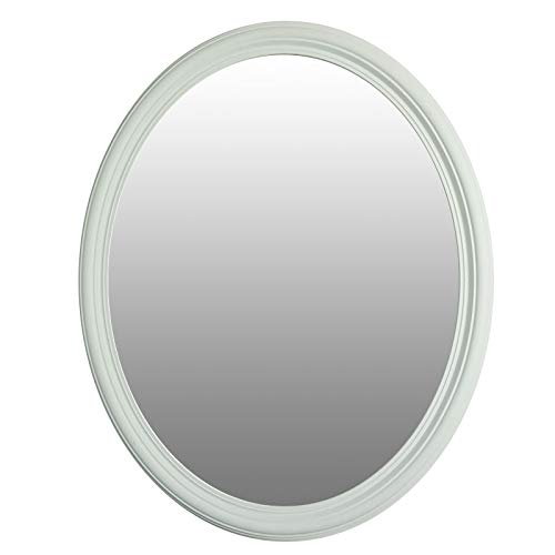 Mirrors and More Wyndham White Framed Oval Non Bevel Bath Mirror | (3) D-Rings Hardware | 24' x 30' Wall Mount| Bathroom| Kitchen | Vanity Mirror |Vertical or Horizontal 2-Way Hanging System