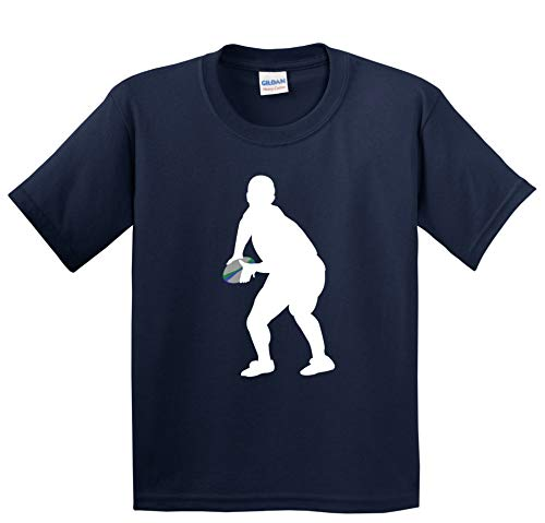 Scrum Half Rugby Player Silhouette Cool Sports Kids T-Shirt, XL Navy