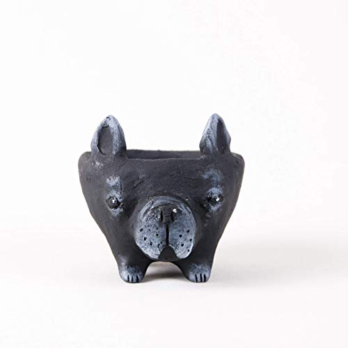 Small Flower Pots for Succulents 1.5-2.4 in - Black Ceramic French Bulldog Mini Pots for Potted Succulent and Cactus Planters Indoor room decor- Cute Planter Animal Shape with drain