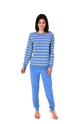 Unbekannt Damen Frottee Pyjama mit Rundhals, Ringel, Uni Hose, Blau, 61772, Gr. L 44/46