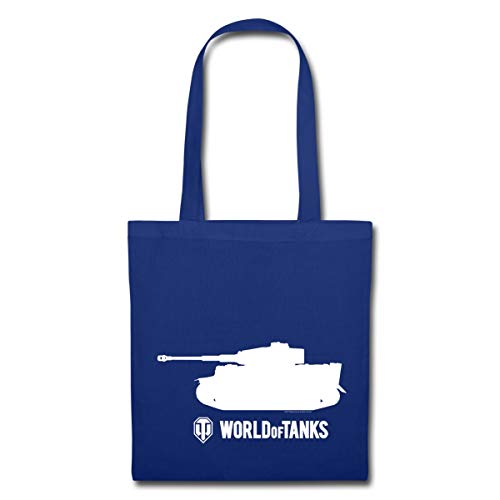 Spreadshirt World Of Tanks Tiger Panzer Silhouette Weiß Stoffbeutel, Royalblau