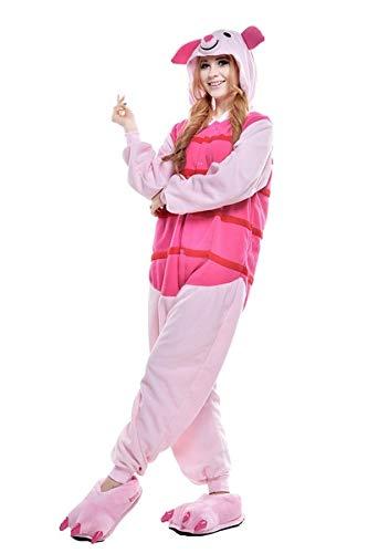 Winnie the pooh personajes Pijama Completo cerdito burro eeyore Tigre onesie Fiesta Disfraz de Kigurumi Con Capucha PIJAMA Sudadera Ropa Para Dormir regalo de Navidad (Piglet, M(height 160cm-170cm)
