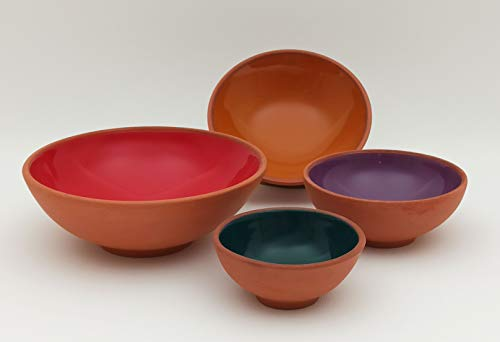 Ayennur Decorative Turkish Terracotta Set of 4 for Snack,Ice cream,Salad,Cereal,Rice,Soup,Pasta Serving with Finger bowl (Multi3)
