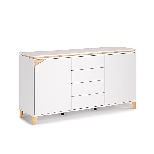 Vicco Sideboard Kommode Anrichte Luisa weiß anthrazit 4 Schubladen 2 Türen Highboard Regal (Weiß Eiche)
