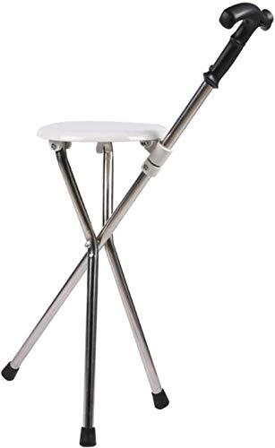 DLLY Switch Sticks Dreibeiniger Sitzstock Spazierstock Wanderstock Gehstütze Leichter klappbarer Gehstock-Hocker aus Edelstahl, gesundheitlicher Hocker für ältere Menschen