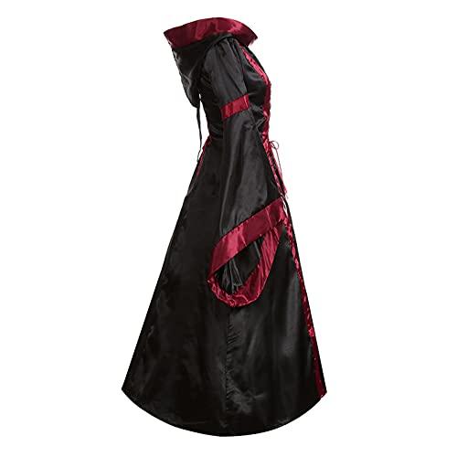 Briskorry Vestido medieval para mujer, gtico, steampunk, con mariposas, vestido de noche, bruja, fiesta de baile, vestido de baile, vestido de vendaje, Negro , M