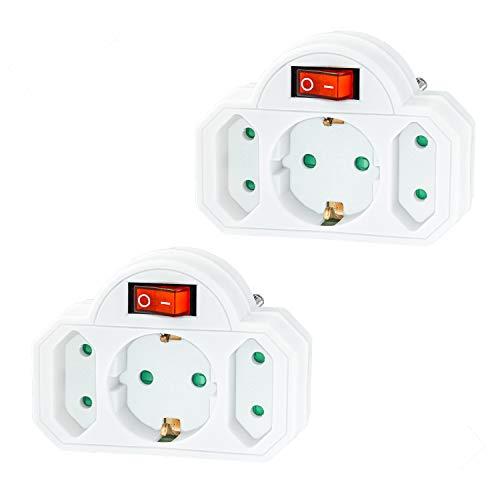 benon 2er Set Mehrfachstecker Weiß mit Schalter - Reisefreundlicher Steckdosen-Adapter - Doppelstecker 3500W - 3-Fach Multistecker - 2 Euro- und 1 Schuko - Mehrfachsteckdose