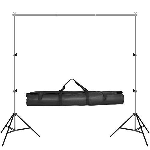 MVPower 2 x 3m Foto Hintergrund inkl. 4 x 75 cm Querbalken, 2 x Lampenstativen und 1 x Tragetasche, tragbares Hintergrundsystem für Fotostudio, Produktfotografie und Videoaufnahme