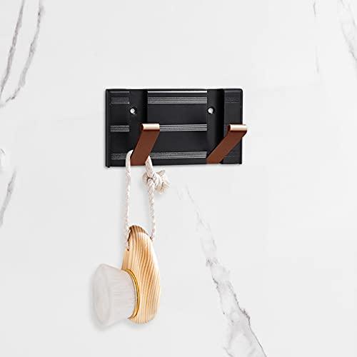 asx Badezimmer-Zubehör, 2 Haken, kreativ, zusammenklappbar, Aluminium, Mehrzweck-Haken, unsichtbar, Wandmontage, Badezimmer-Handtuchhalter, Haushaltsbedarf, G2 Badezimmer-Hardware-Set (Farbe: Kaffee)