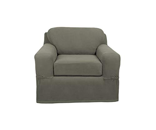 Maytex Pixel Ultra Soft Stretch 2 Piece Arm Chair Furniture Cover, Dusty Olive Green armchair-slipcovers