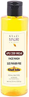 Khadi Mauri Herbal Apple Cider Vinegar Face Wash - Gentle Cleanser, Lightens Marks & Blemishes -SLES & PARABEN FREE - Enriched with Basil & Aloe Vera - 210 ml