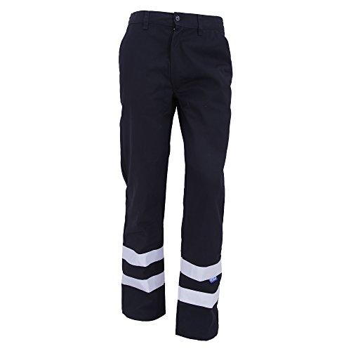 Yoko Herren Hi Vis Arbeitshose, reflektierend, lange Beinlänge (W30, Bund 76 cm) (Marineblau)