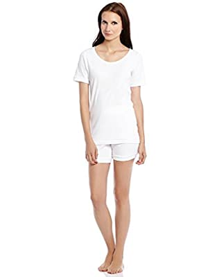 Leveret Women Shorts 2 Piece Pajama White Small from
