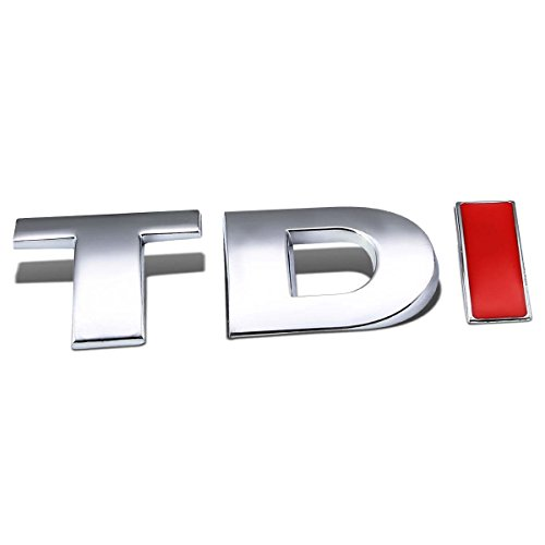 "DNA EM-L-TDI-SL-RD - Silver & Red""TDI"" Logo Metal Decal Emblem"