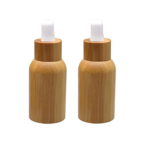 2 Pack 10ml/0.34oz Bamboo Glass Dropper Bottle For Essential Oils,Amber Glass Eye Dropper Bottle With Glass Pipettes&Natural Bamboo Wood Shell Travel Perfumes Elegant Cosmetic Container