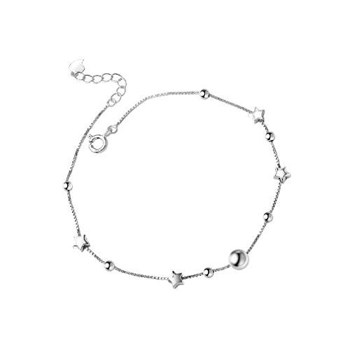 Bonamana Elegant Sexy 925 Sterling Silber Einfacher Stern Barfuß Fußkettchen für Frauen/Mädchen (Star)