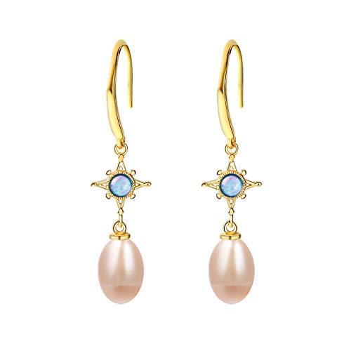 SA SILVERAGE Pendientes de gota de plata de ley 925 con perlas cultivadas de agua dulce para mujer