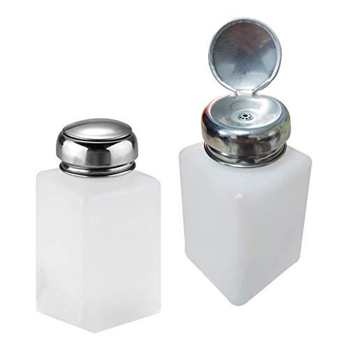 SDENSHI 2pcs 200Ml Bouteille de Presse Vide Pompe Dispensatrice pour Manucure, Dissolvant, Linquides