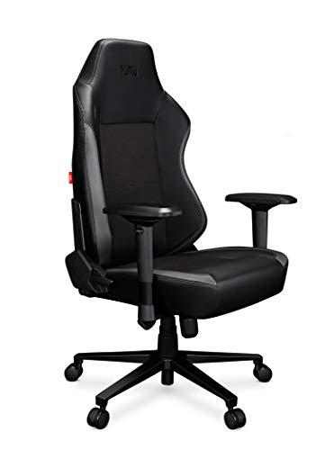 YUMISU 2051 Gaming Chair - Nero/Grigio - Costruzione Solida in Alluminio Rinforzato con meccanismo Ergomultiblock. Schienale e Seduta Molto Morbidi offrono Comfort. Ruote gommate!