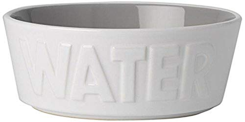 PetRageous 14014 Back to Basics Dishwasher and Microwave Safe Dog Water Bowl 6-Inch Diameter 2.25-Inch Tall 2.5-Cup Capacity For Medium and Large Dogs and Cats of All Sizes, White