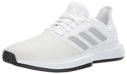 adidas Men's Gamecourt Tennis Shoe, White/Matte Silver/Black, 11 M US