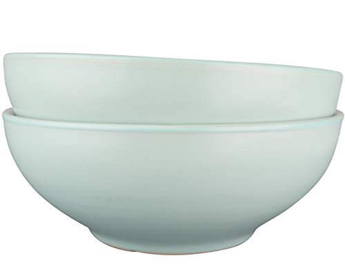 LoveMyBigBowl solid 28 oz 7.25 inch bowl for pasta salad soup noodles cereals. Mint green and white microwave safe. Easy to clean. Stackable set of 2 …