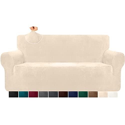 Granbest Funda de sofá de terciopelo supersuave de 3 plazas, elegante y lujosa funda de sofá de felpa con bandas de espuma de spandex reforzado, para la protección de muebles, 1 unidad, beige