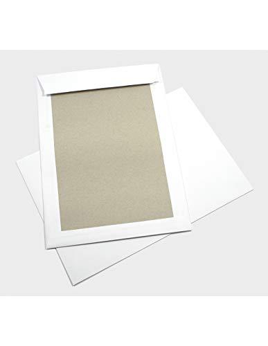 100x weiße Versandtaschen B4 mit Papprückwand aus Graupappe 400g 250 × 353 mm gerade Klappe mit Haftklebung Karton-Umschläge mit Papprücken Papprückwandtaschen weiß ohne Sichtfenster