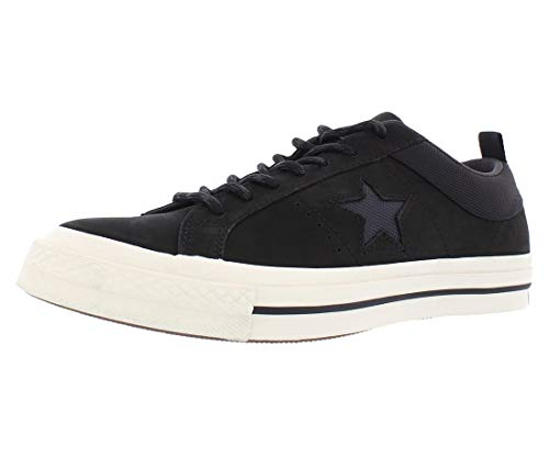 Converse Mens One Star Ox Low Top Lace Up Fashion Sneakers, Black, Size 12.0