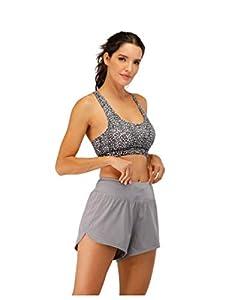 BDN los Pantalones de Yoga de Cintura Alta Elegante con Gimnasio de Control de la Barriga,Pantalones de Yoga Sueltos y de Secado rápido con Bolsillos en el Exterior-Gris_Metro