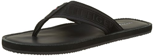 Tommy Hilfiger Herren Jacquard TH Leather Beach Sandal Zehentrenner, Schwarz (Black 990), 43 EU