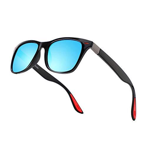 Ramcase Lentes de Sol Polarizados con Proteccion UV400 Unisex para Hombre y Mujer Gafas de Sol Incluye Bolsa de Transporte y Toalla para Limpieza (Plastico, Azul Espejo)